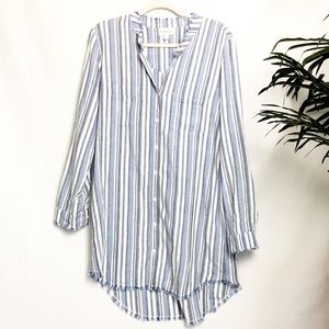 Cloth & Stone Striped Frayed Edges Shirt Dress - M